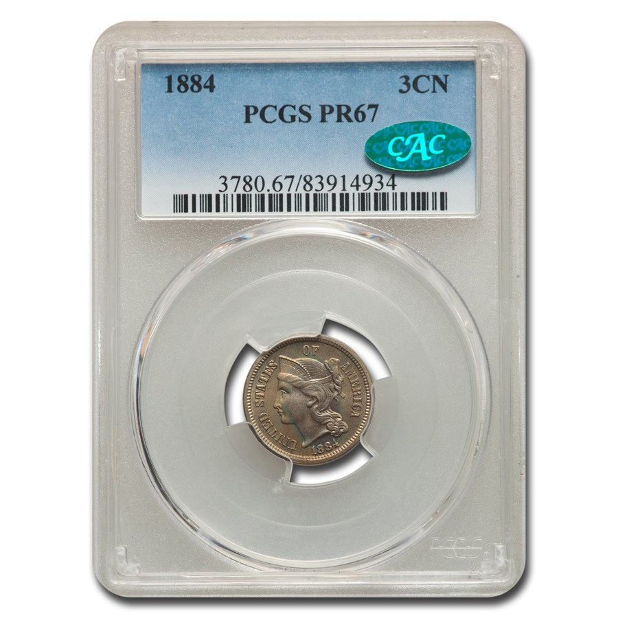 1884 Three Cent Nickel PR-67 PCGS CAC