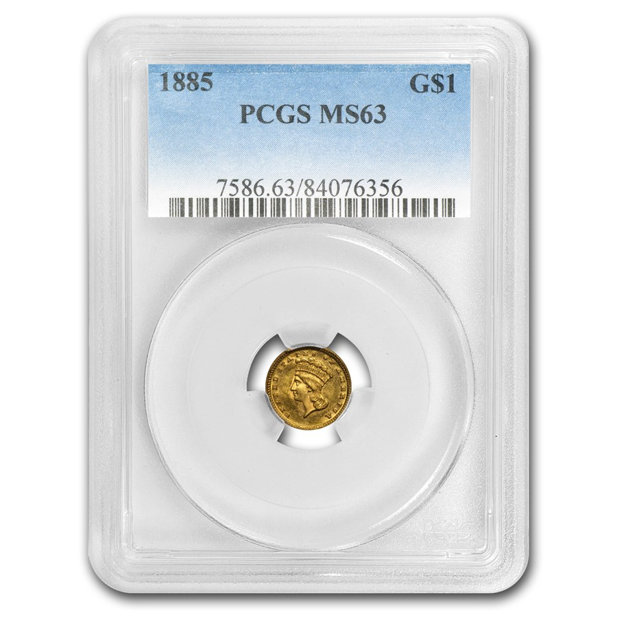 1885 $1 Indian Head Gold MS-63 PCGS