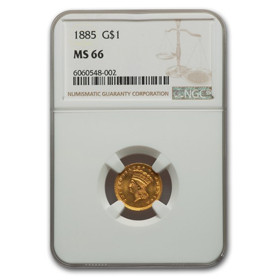 1885 $1 Indian Head Gold MS-66 NGC