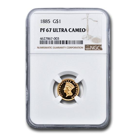 1885 $1 Indian Head Gold PF-67 UCAM NGC