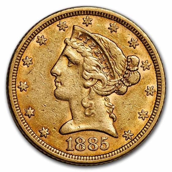 1885 $5 Liberty Gold Half Eagle AU