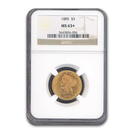 1885 $5 Liberty Gold Half Eagle MS-63+ NGC
