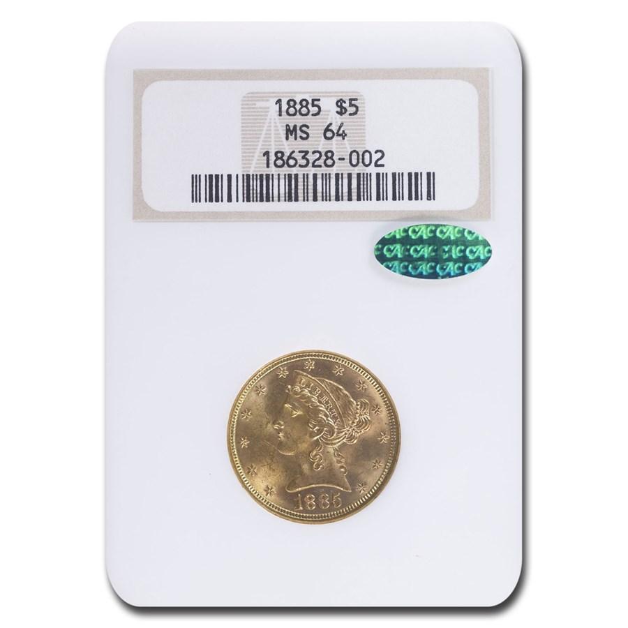 1885 $5 Liberty Gold Half Eagle MS-64 NGC CAC
