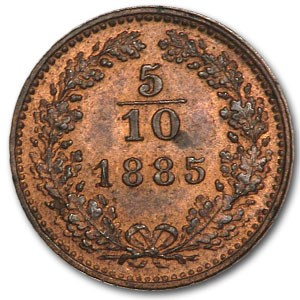1885 Austria 5/10 Kreuzer BU
