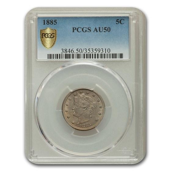 1885 Liberty Head V Nickel AU-50 PCGS