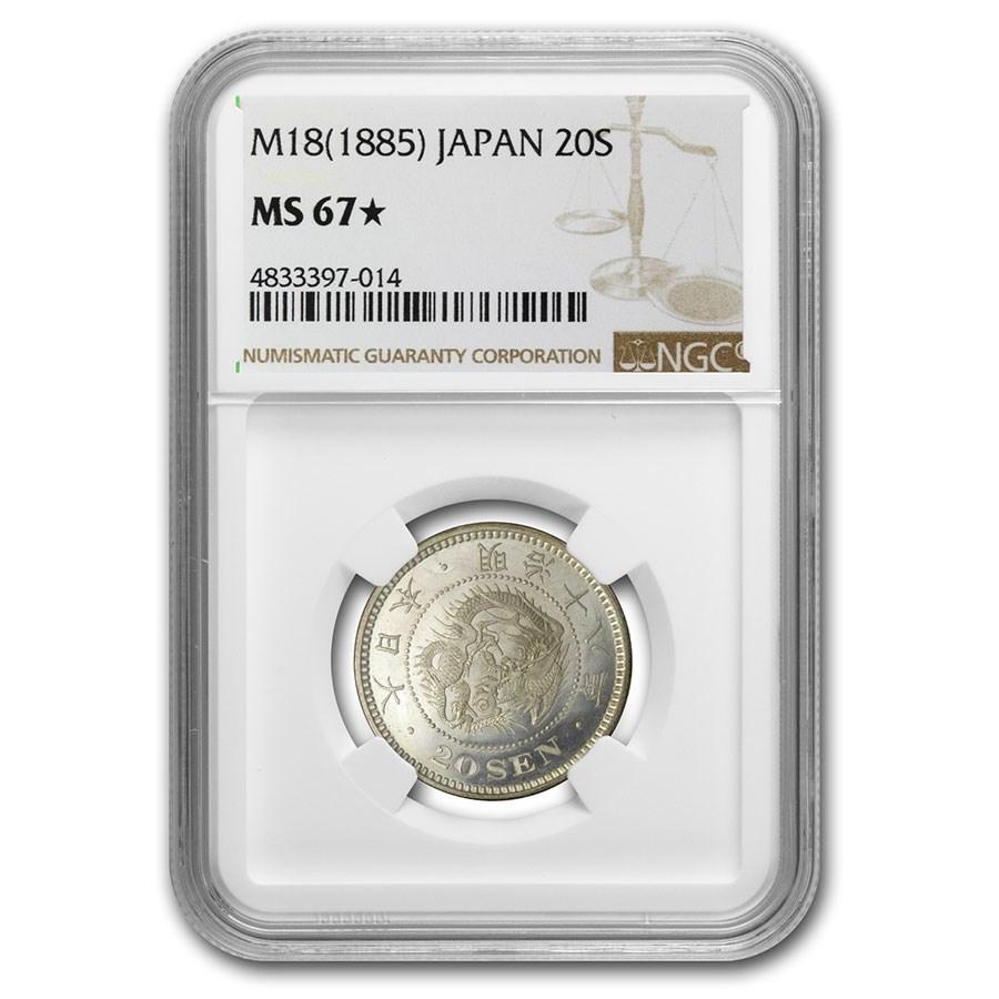 (1885) M18 Japan Meiji Era Silver 20 Sen MS-67* NGC