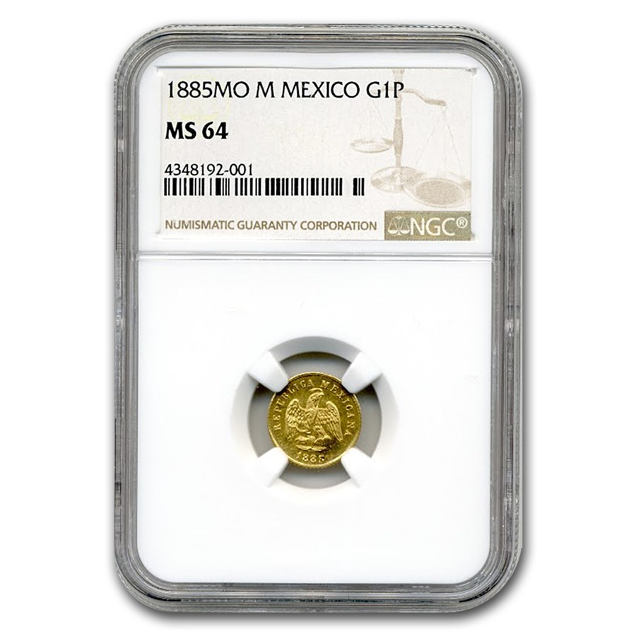 1885 Mo-M Mexico Gold Peso MS-64 NGC