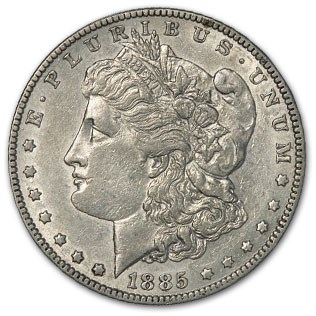 1885 Morgan Dollar AU (VAM-22, Dash Under 8, Hit List-40)