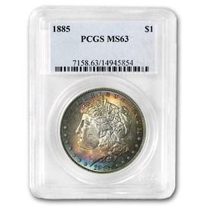 1885 MS-63 PCGS (VAM-22, Dash Under 8, Blue Toning, Hit List-40)