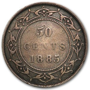 1885 Newfoundland Silver 50 Cents Victoria VF