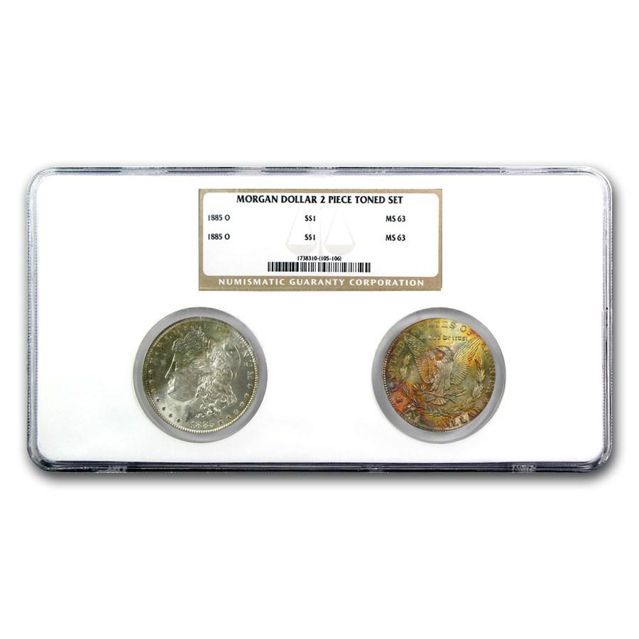 1885-O 2-Coin Morgan Dollar Set MS-63 NGC (Obv & Rev Toned)
