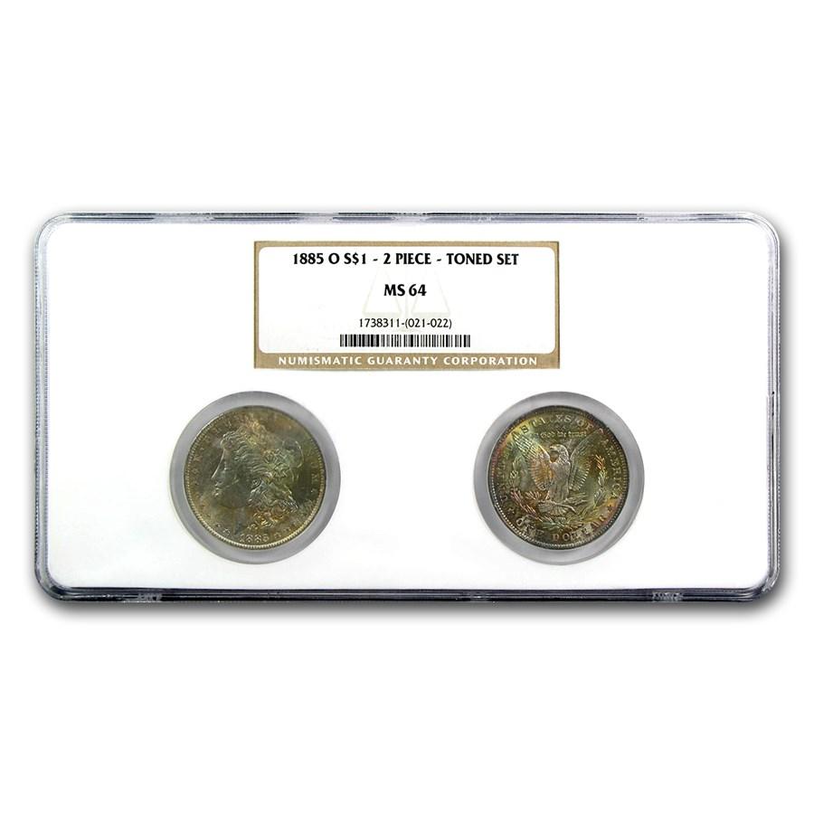 1885-O Morgan Dollar 2-Coin Set MS-64 NGC (Obv & Rev Toned)
