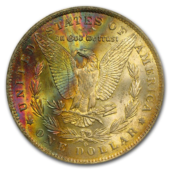 1885-O Morgan Dollar MS-62 PCGS (Rev Rainbow)