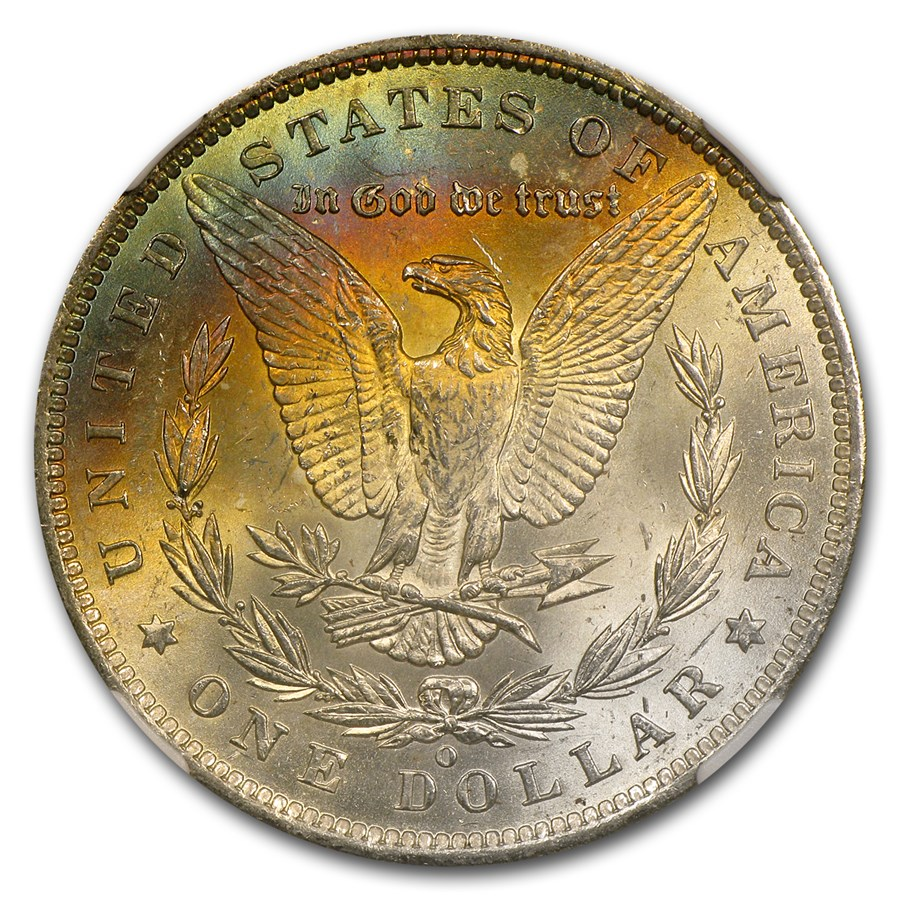 1885-O Morgan Dollar MS-62* Star NGC (Blue & Gold Rev)