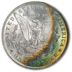 1885-O Morgan Dollar MS-63 PCGS (Rev Rainbow Crescent Toning)