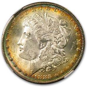 1885-O Morgan Dollar MS-64 NGC (Blue & Cherry Wood Rim Toning)