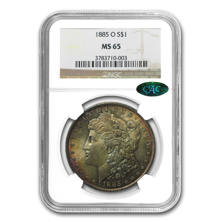 1885-O Morgan Dollar MS-65 NGC (CAC, Fire Toning)