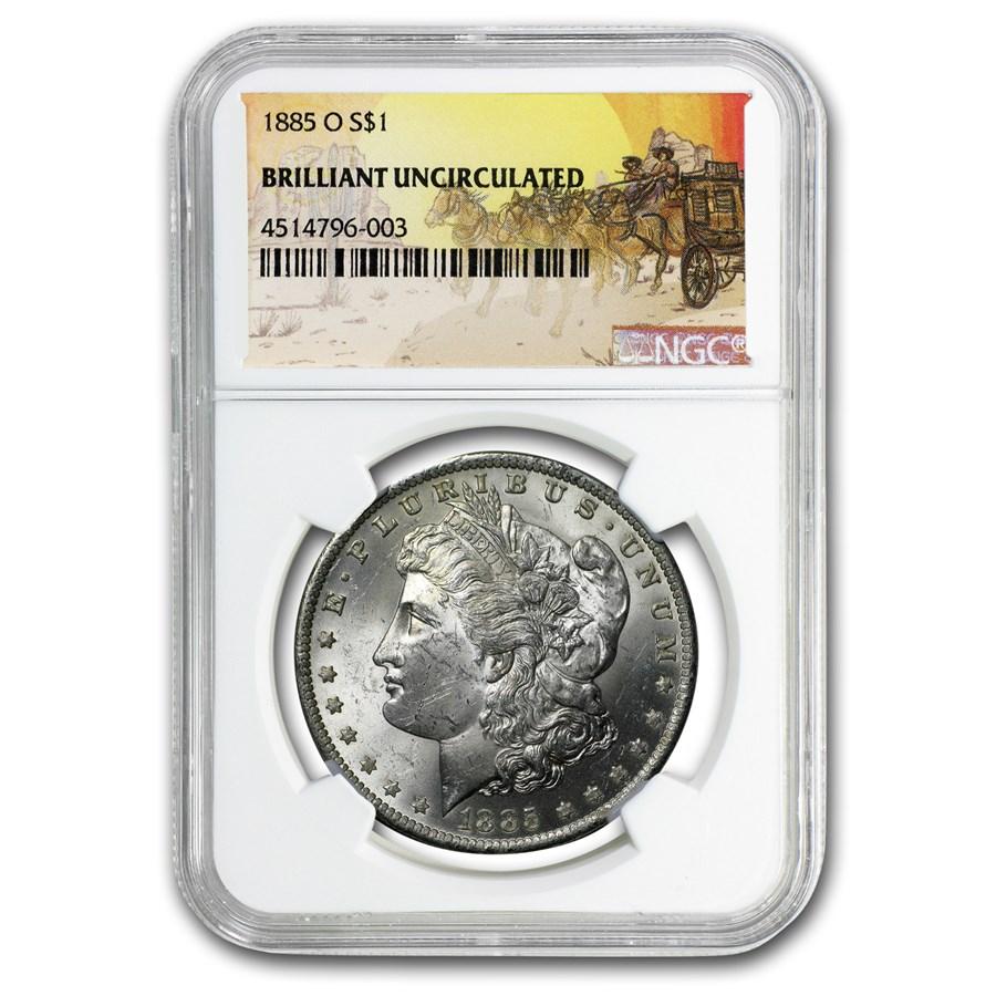 1885-O Stage Coach Morgan Dollar BU NGC
