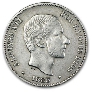 1885 Philippines 50 Centimos Silver XF Details