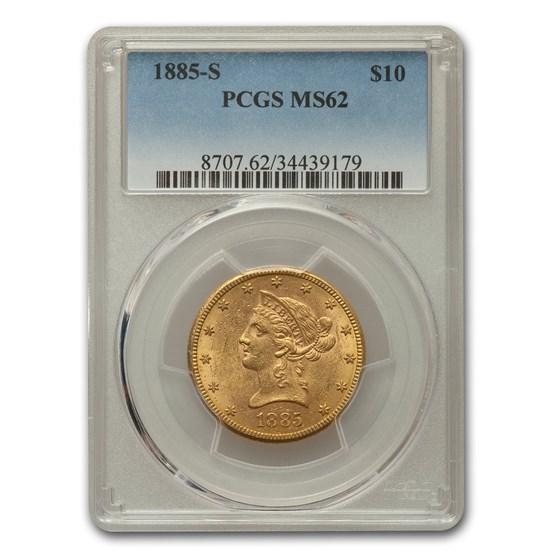 1885-S $10 Liberty Gold Eagle MS-62 PCGS
