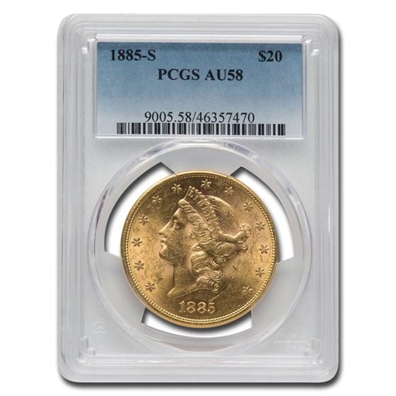 1885-S $20 Liberty Gold Double Eagle AU-58 PCGS