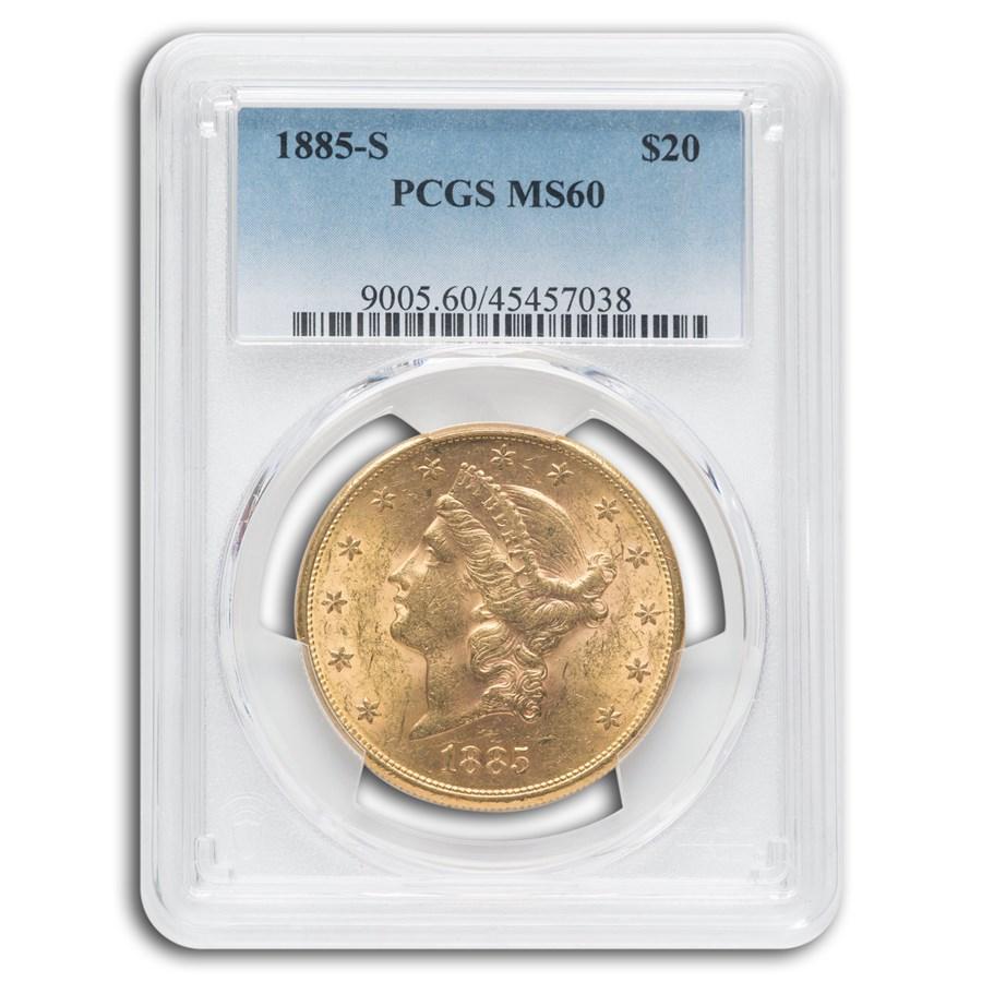 1885-S $20 Liberty Gold Double Eagle MS-60 PCGS