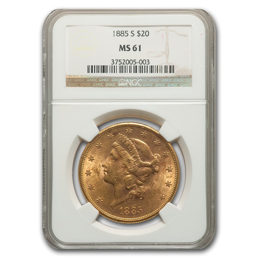 1885-S $20 Liberty Gold Double Eagle MS-61 NGC
