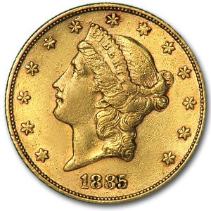 1885-S $20 Liberty Gold Double Eagle XF
