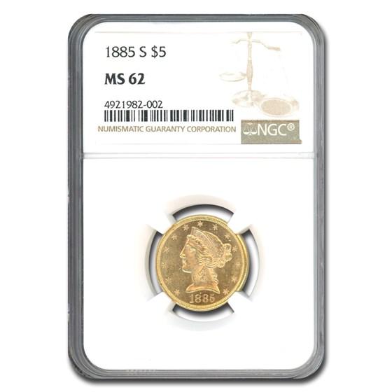 1885-S $5 Liberty Gold Half Eagle MS-62 NGC