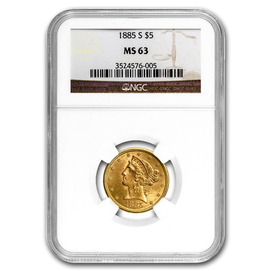 1885-S $5 Liberty Gold Half Eagle MS-63 NGC
