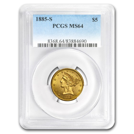 1885-S $5 Liberty Gold Half Eagle MS-64 PCGS