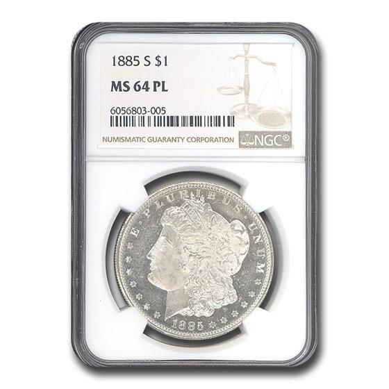 1885-S Morgan Dollar MS-64 PL NGC