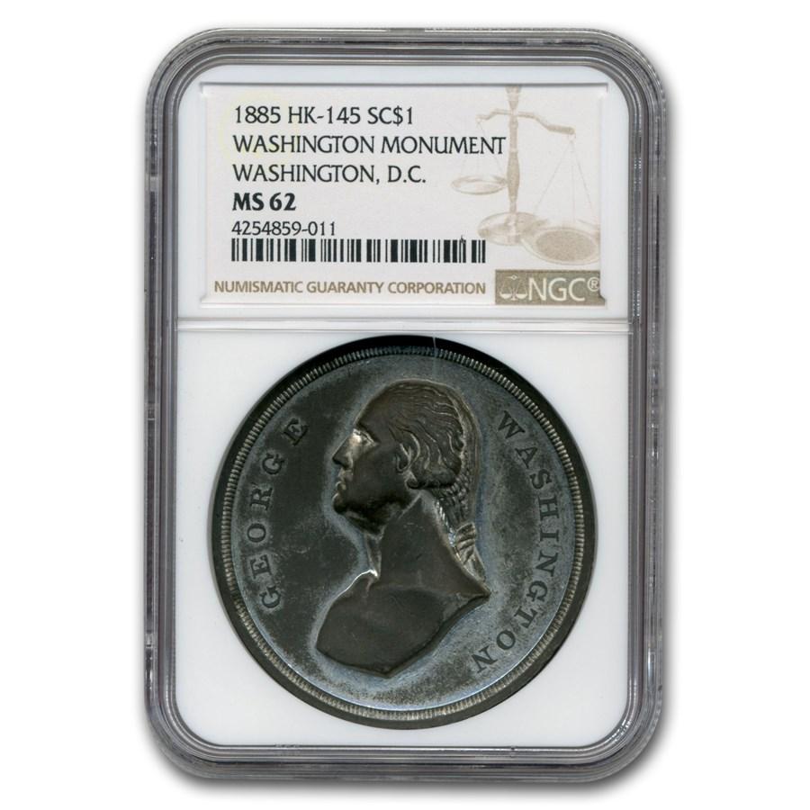 1885 Washington Monument Medal MS-62 NGC (White Metal)