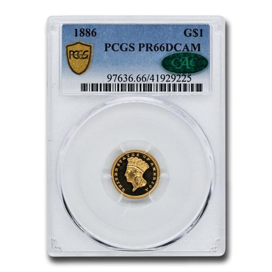 1886 $1.00 Indian Head PR-66 DCAM PCGS CAC