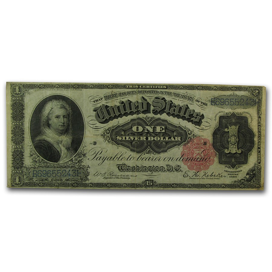 1886 $1.00 Silver Certificate Martha Washington VF