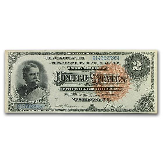 1886 $2.00 Silver Certificate Winfield Scott Hancock AU