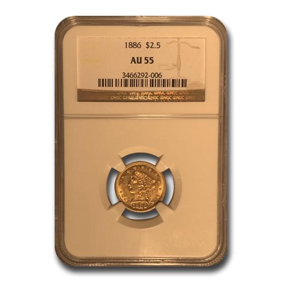 1886 $2.50 Liberty Gold Quarter Eagle AU-55 NGC