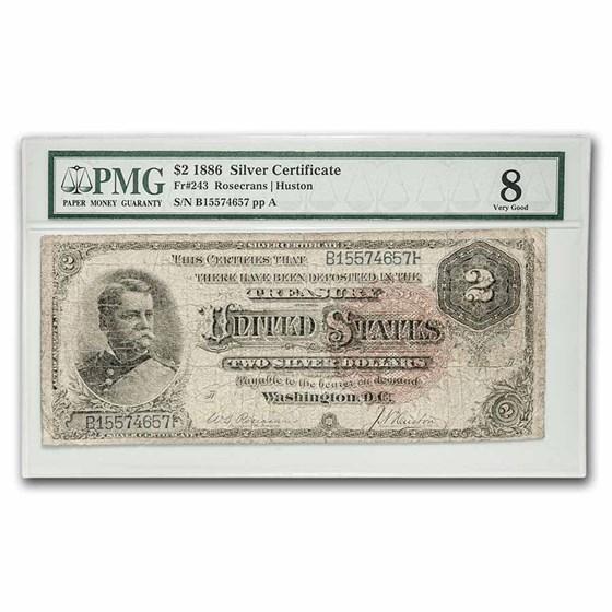 1886 $2 Silver Cert. Winfield Scott Hancock VG-08 PMG (Fr#243)
