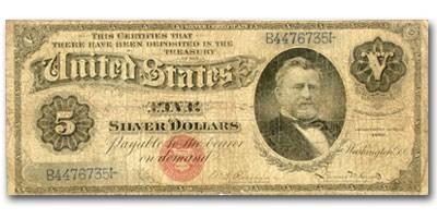 1886 $5.00 Silver Certificate U. S. Grant VG