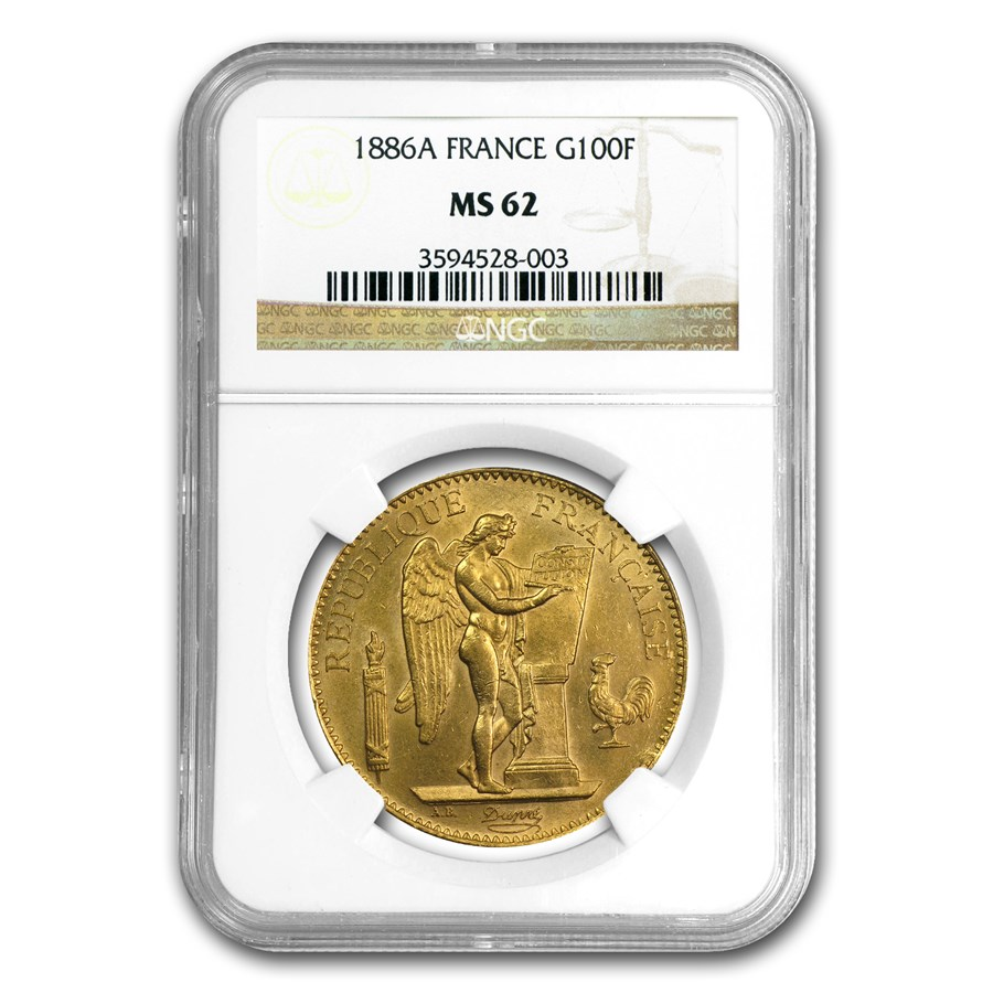 1886-A France Gold 100 Francs Lucky Angel MS-62 NGC
