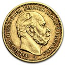 1886 A Prussia Gold 20 Marks Wilhelm I AU