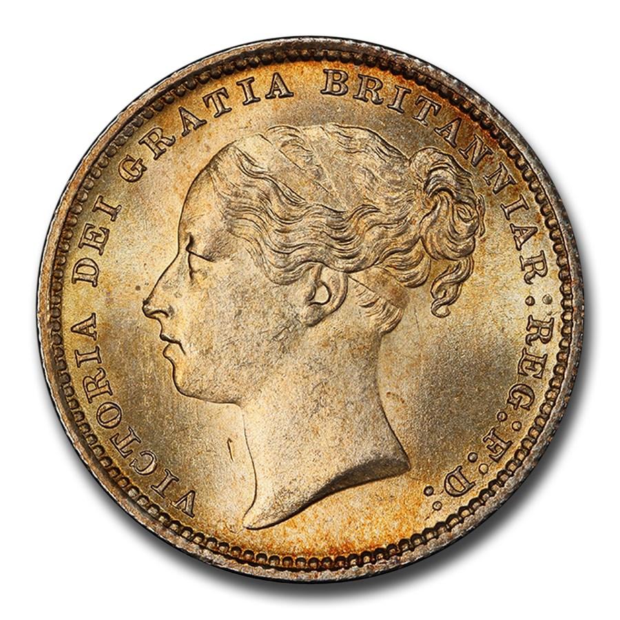 1886 Great Britain Silver Shilling Queen Victoria MS-65 PCGS