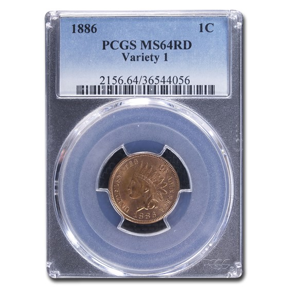 1886 Indian Head Cent MS-64 PCGS (Red, Variety 1)