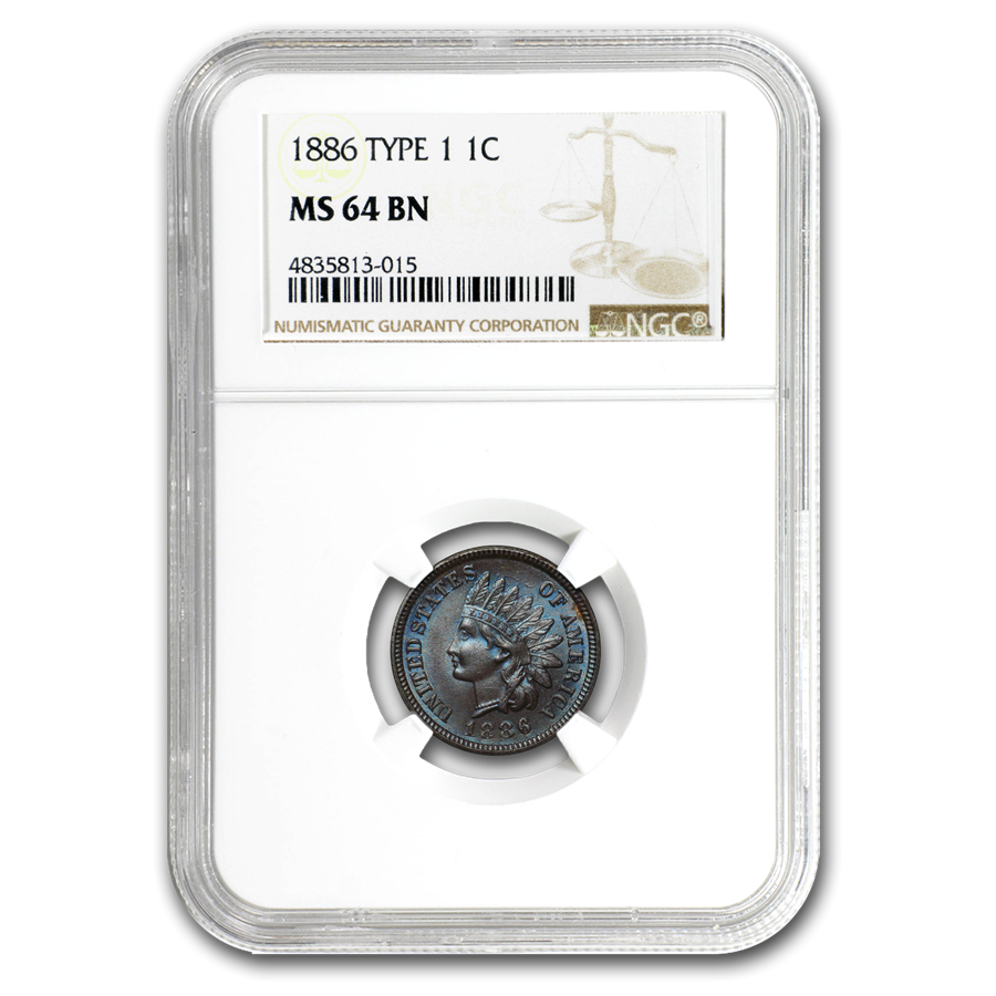 1886 Indian Head Cent Type-I MS-64 NGC (Brown)