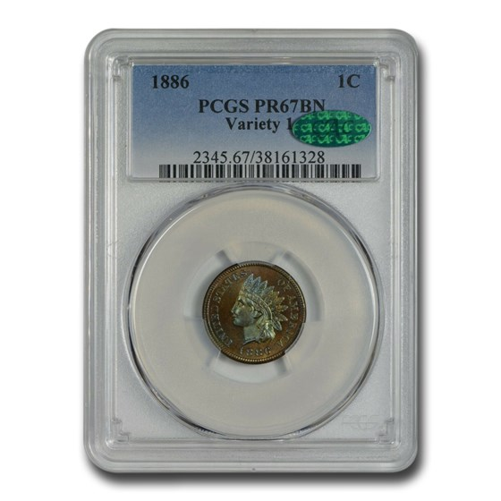 1886 Indian Head Cent Type-I PR-67 PCGS CAC (Brown)
