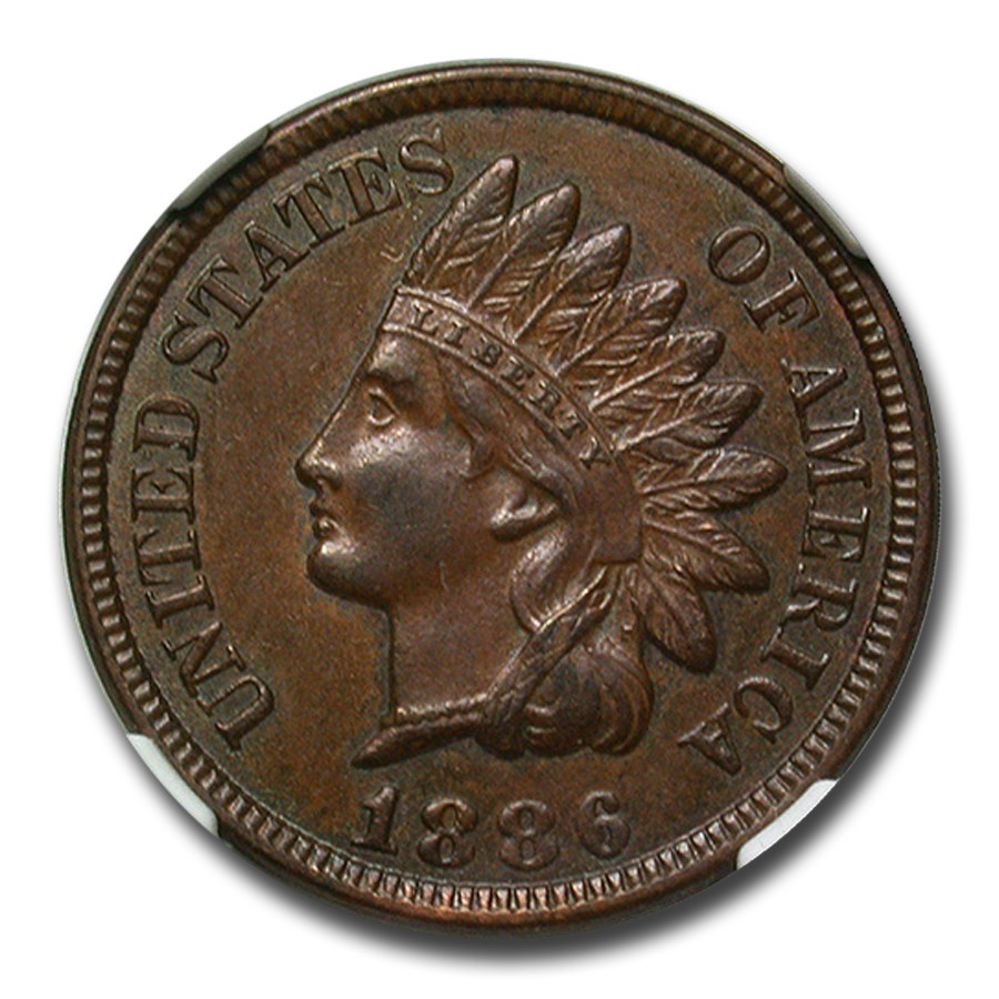 1886 Indian Head Cent Type-II AU-53 NGC CAC (Brown)