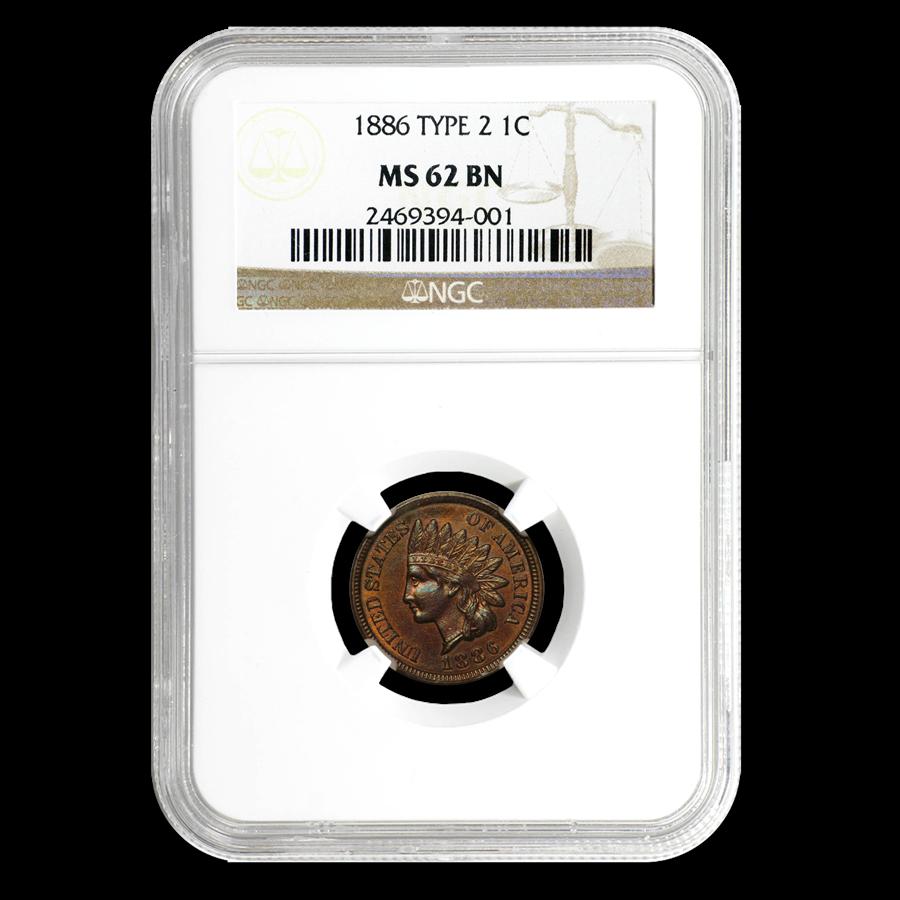 1886 Indian Head Cent Type-II MS-62 NGC (Brown)