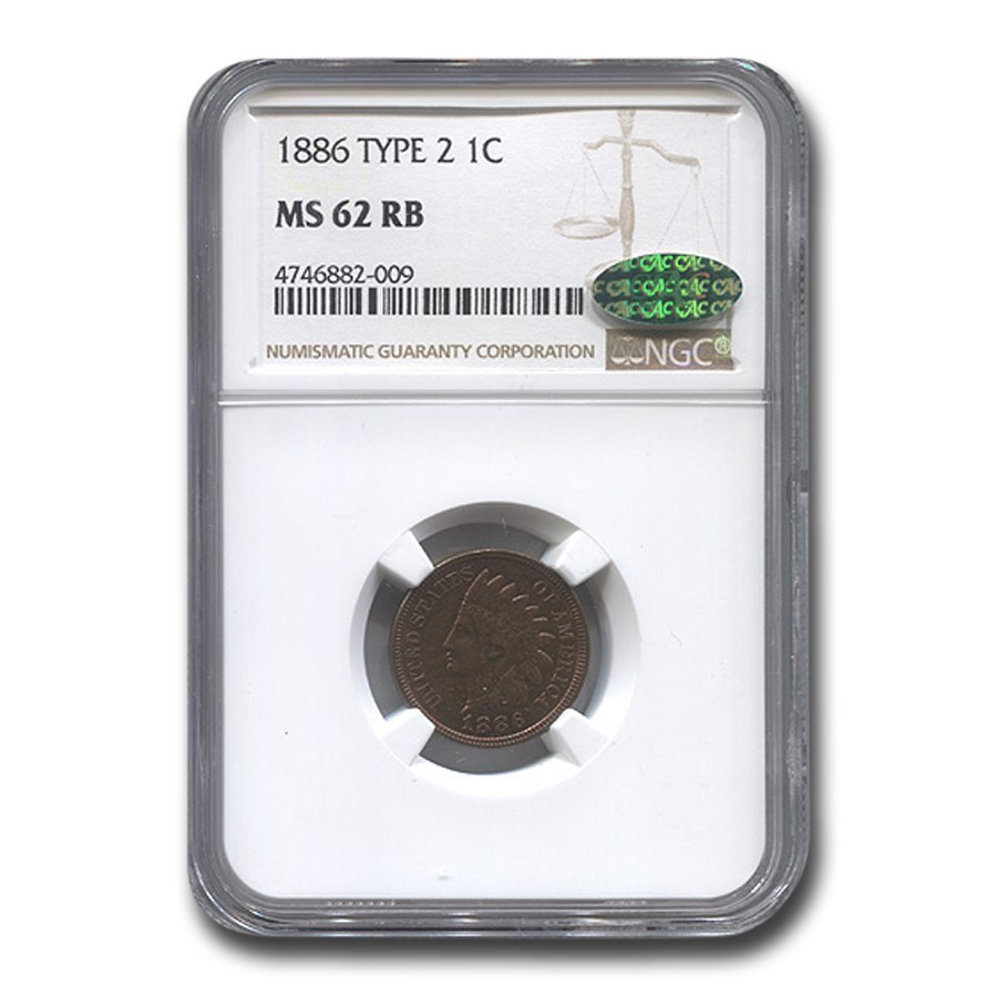 1886 Indian Head Cent Type-II MS-62 NGC CAC (Red/Brown)