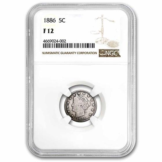 1886 Liberty Head V Nickel Fine-12 NGC