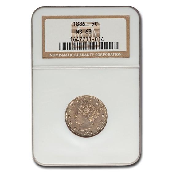 1886 Liberty Head V Nickel MS-63 NGC